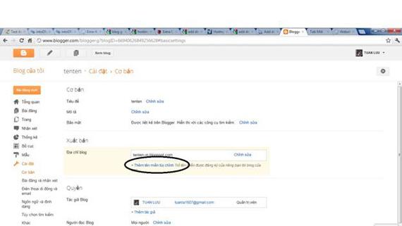 Add domain  cho blog google.com